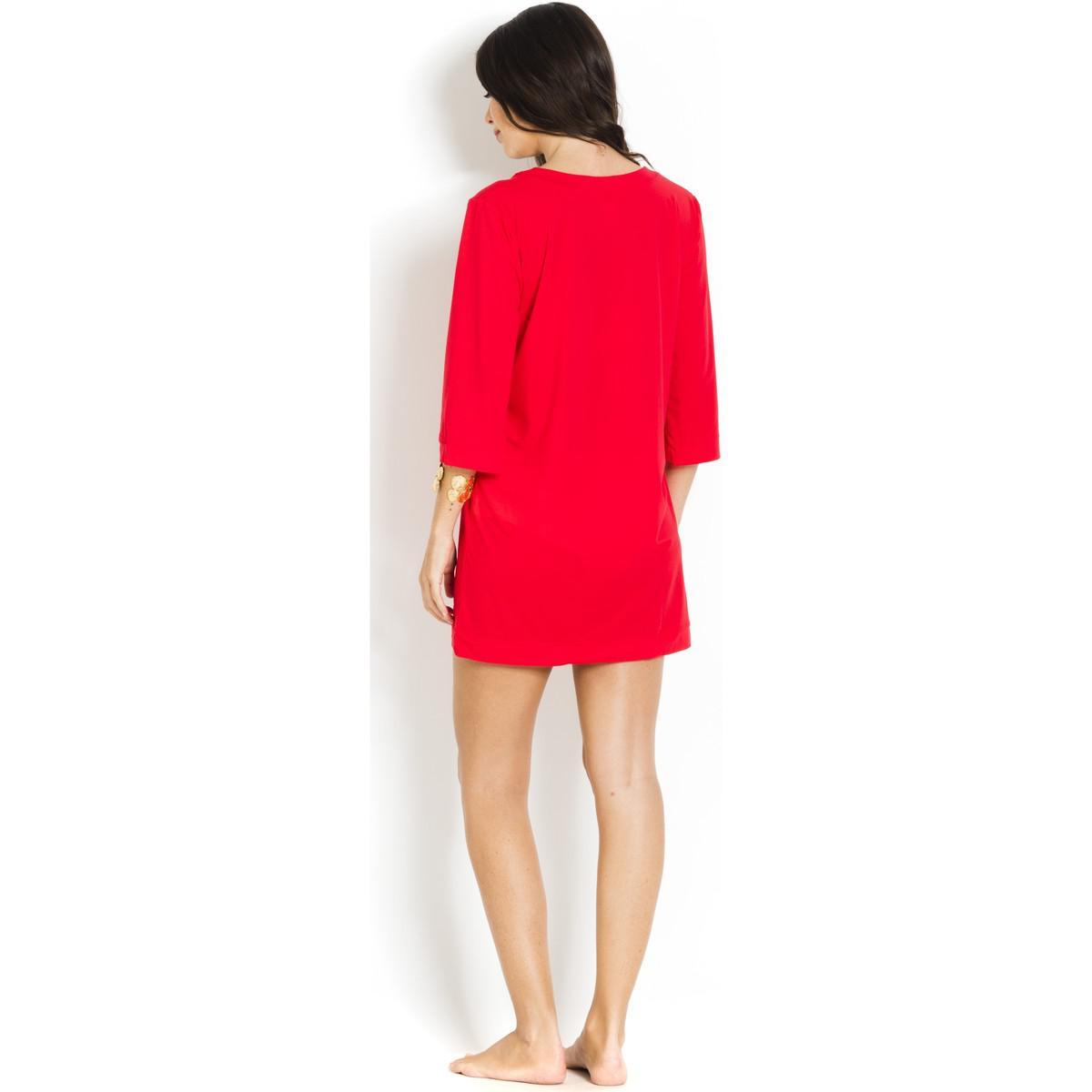 Short Beach Dress V-neckline Nessa PAIN DE SUCRE Red - Voile Uni Pain De Sucre HWd0AKK