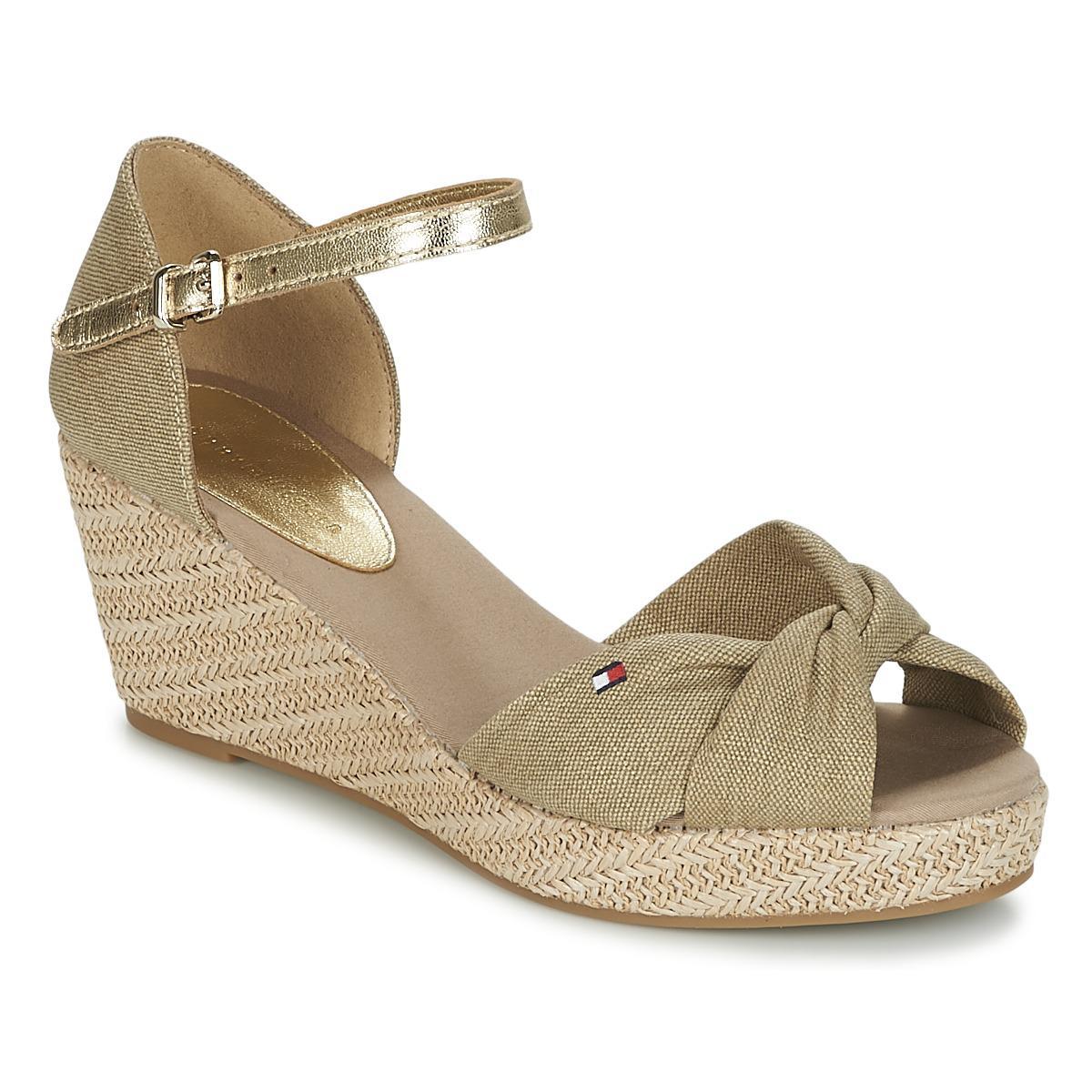 Tommy Hilfiger ICONIC ELBA METALLIC - Platform sandals - beige cgijL