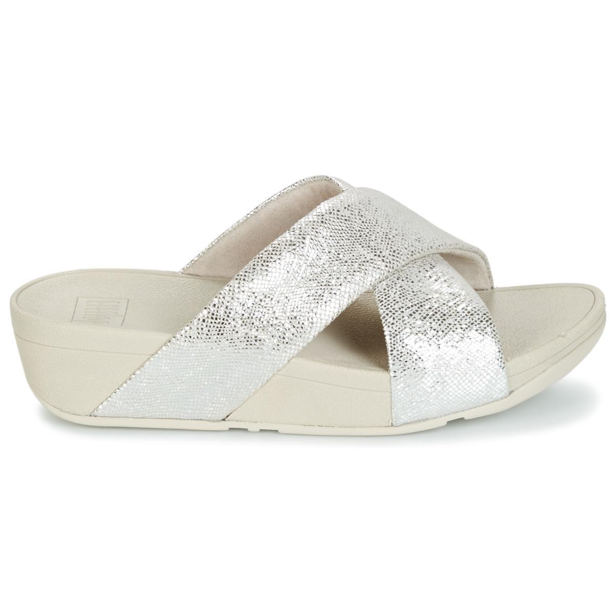 6172d11c9f13 Fitflop - Metallic Swoop Slide Women s Mules   Casual Shoes In Silver -  Lyst. View fullscreen