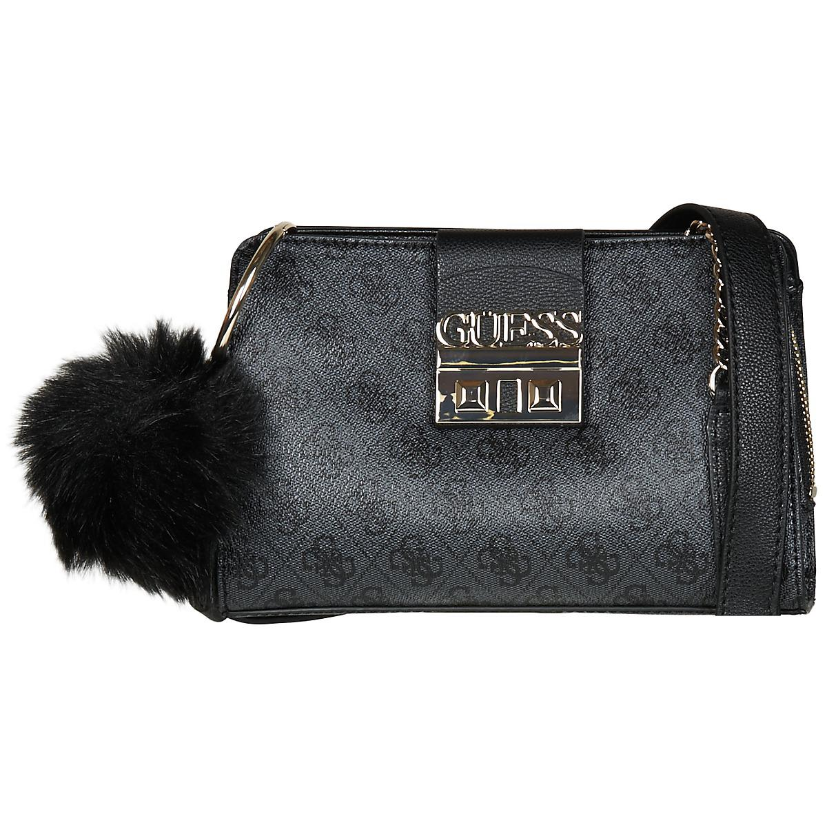 7690a63d23cb77 Guess Logo Luxe Crossbody Girlfriend Women's Shoulder Bag In Black ...