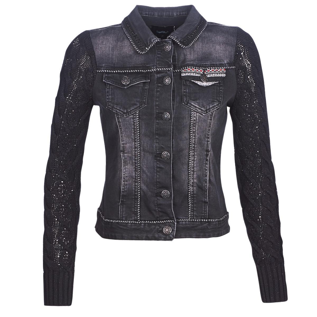 Desigual Black Panther Denim Jacket In Black Lyst