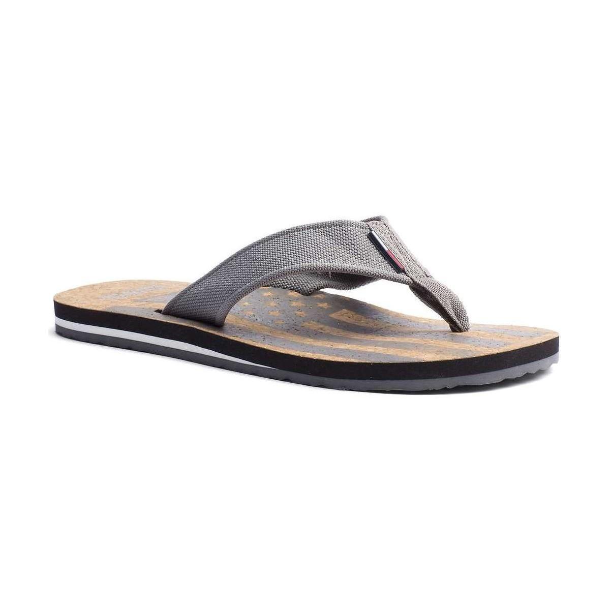 tommy hilfiger fm0fm00619 flip flops man grey men 39 s flip flops sandals shoes in grey in gray. Black Bedroom Furniture Sets. Home Design Ideas