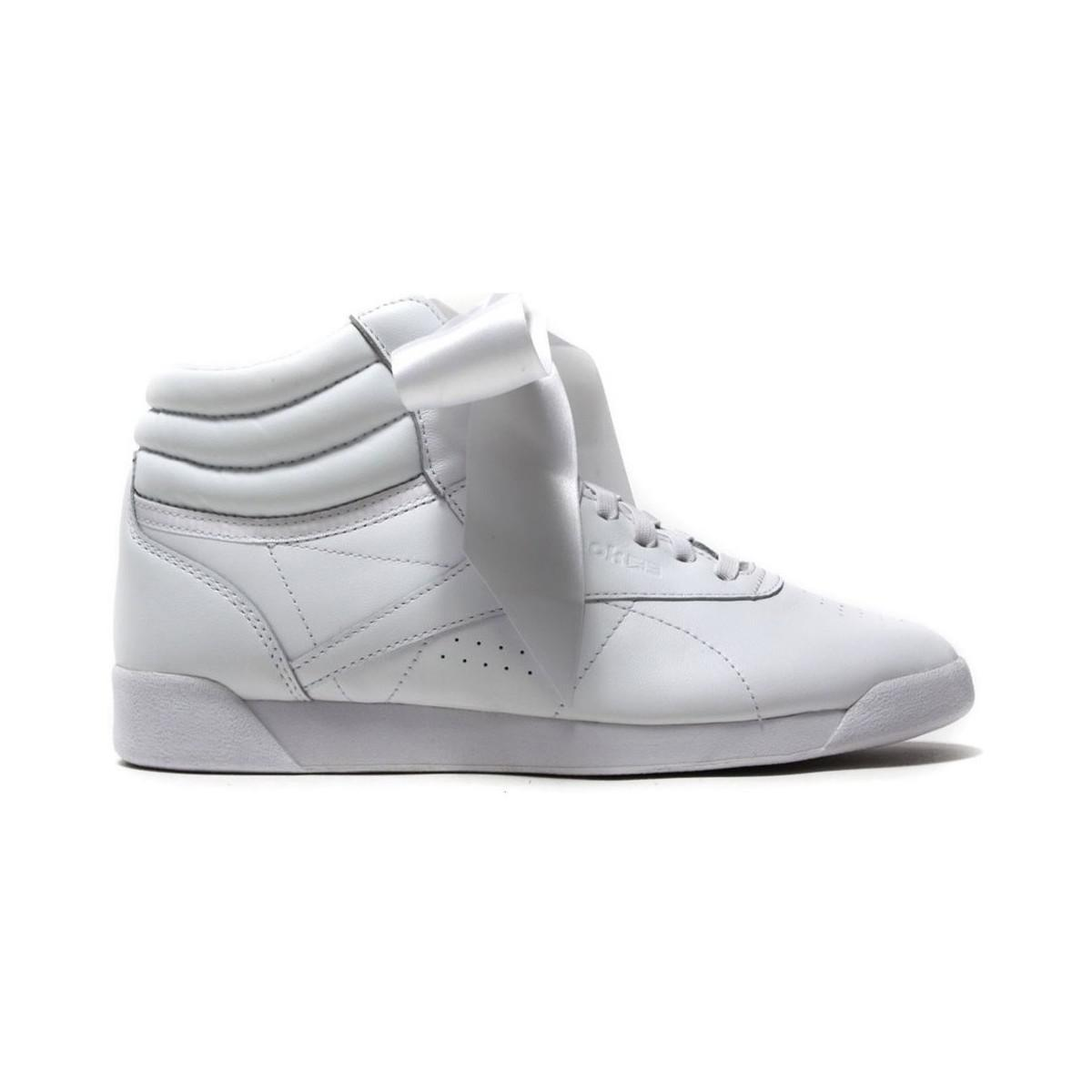 8546a95f68c Reebok Freestyle High Satin Bow Women s Shoes (high-top Trainers) In ...