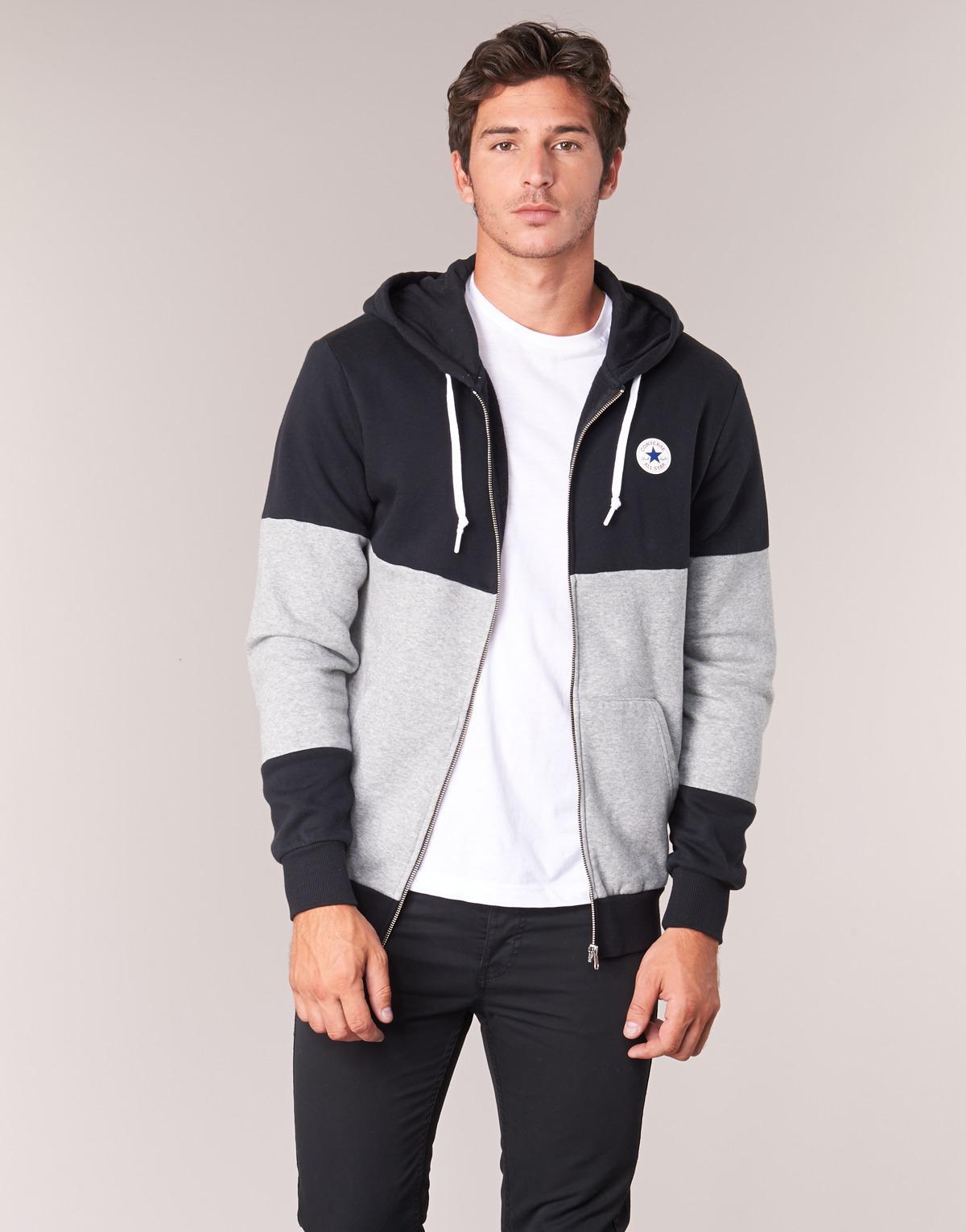 bf2b6c606b2cbc Converse Core Colorblock Full Zip Hoodie Men s Sweatshirt In Black ...