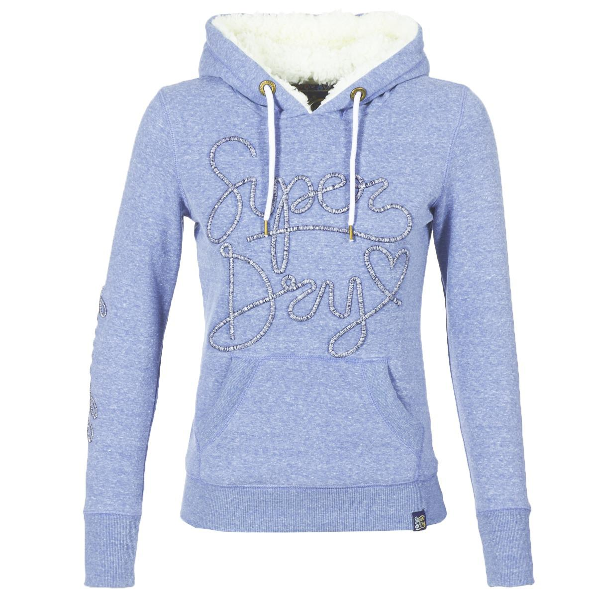 c1d61560cbdae Superdry Aria Applique Borg Hoodie Sweatshirt in Blue - Lyst