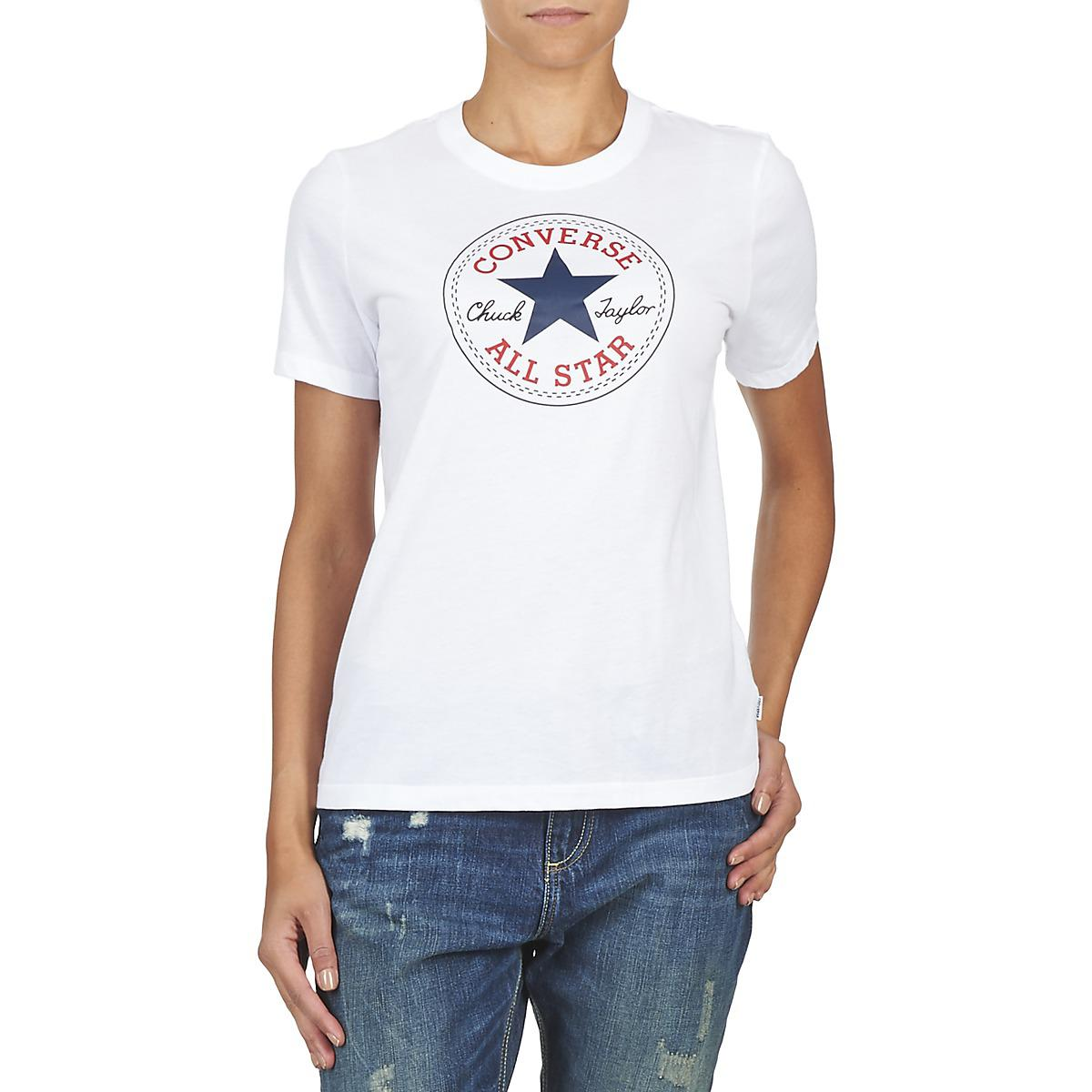 Core T Solid Patch Shirt White Chuck Converse Crew In Women's qYZdW