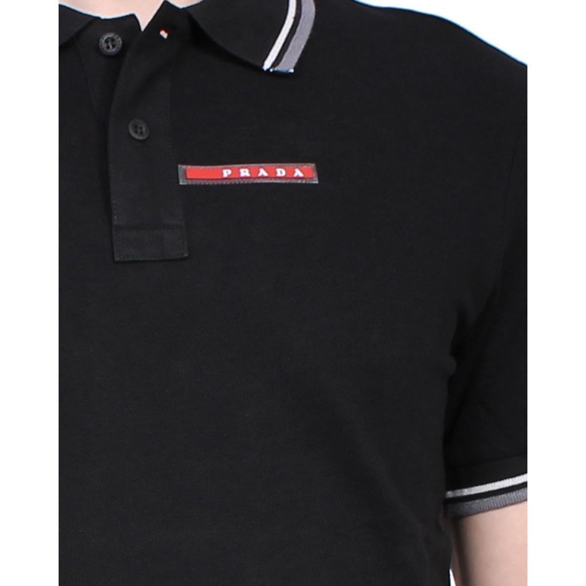 5cb7ac32 Prada - Slim Fit Men's Polo Sjj887 Men's Polo Shirt In Black in ...