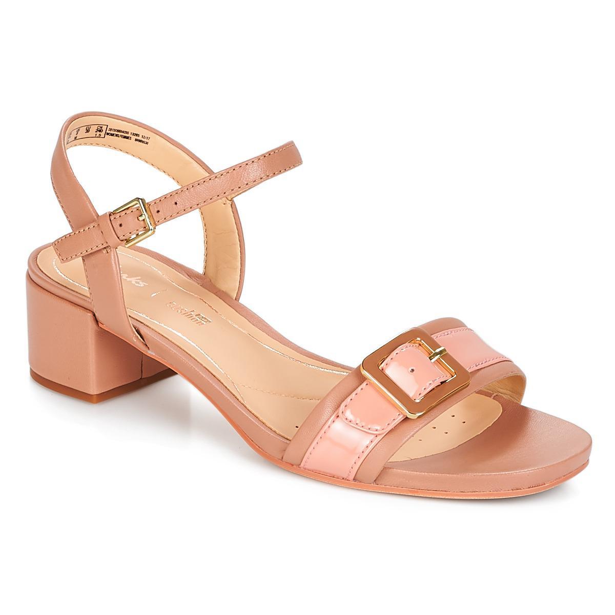 best deals on outlet on sale Official Website Clarks Leather Orabella Shine Sandals in Pink - Lyst