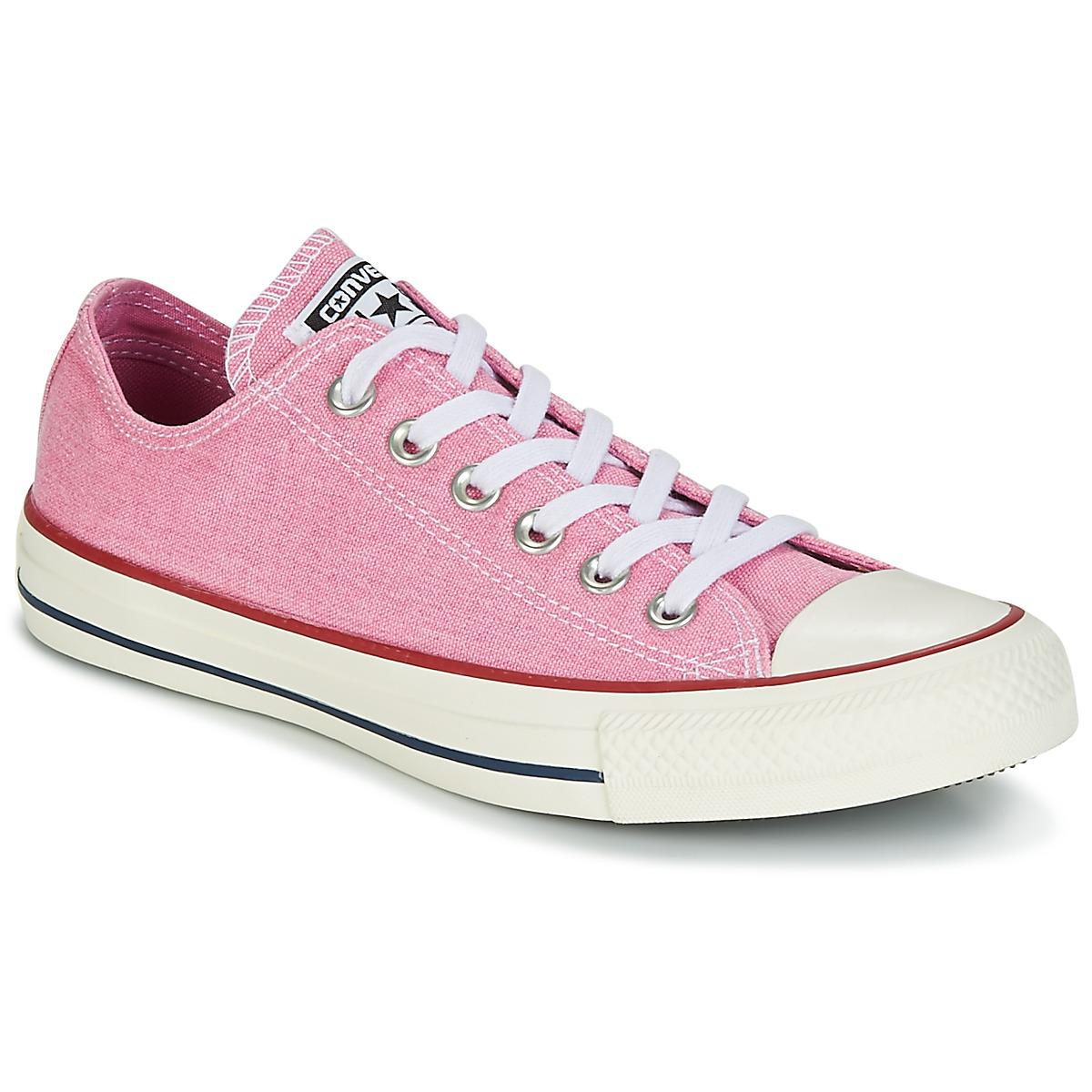 CONVERSE Chuck Taylor Low Top Pink Sparkle Wash UK 7 Platform All Star Trainer