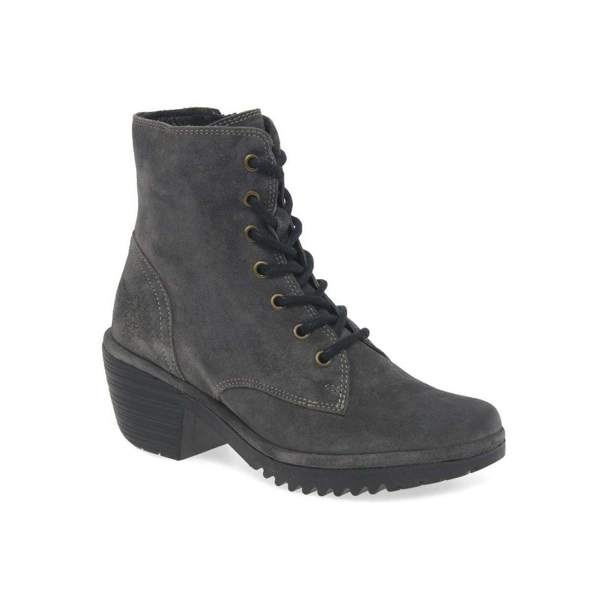 7699b8068e9f3 Fly London Woke Womens Lace Up Suede Military Ankle Boots in Gray - Lyst