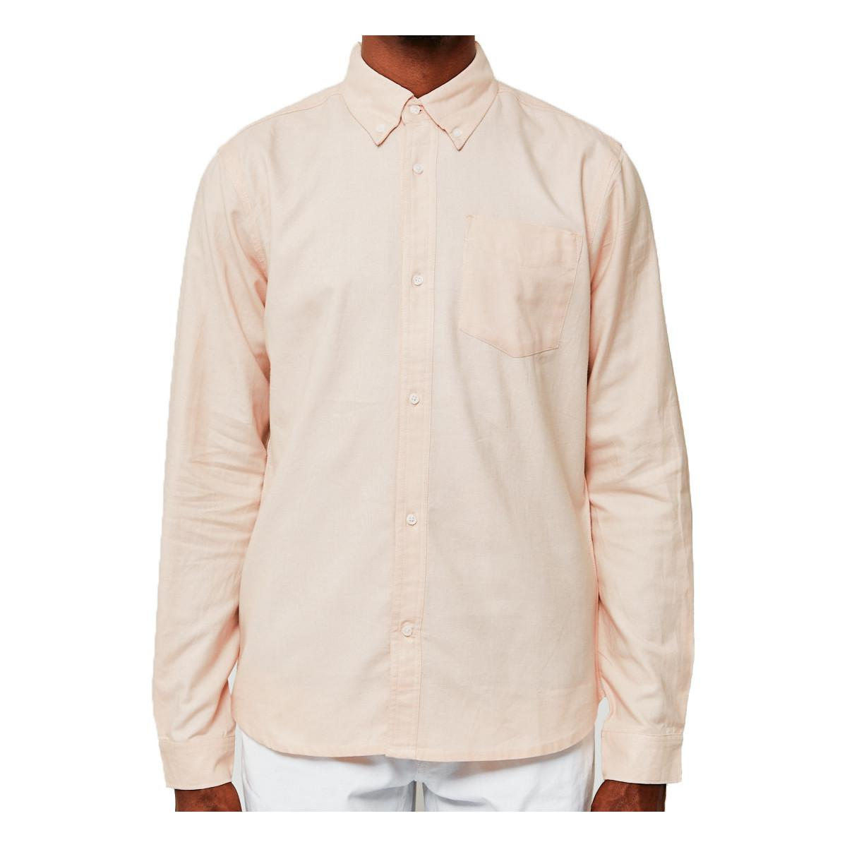 The idle man casual oxford shirt pink men 39 s long sleeved for Mens pink long sleeve shirt