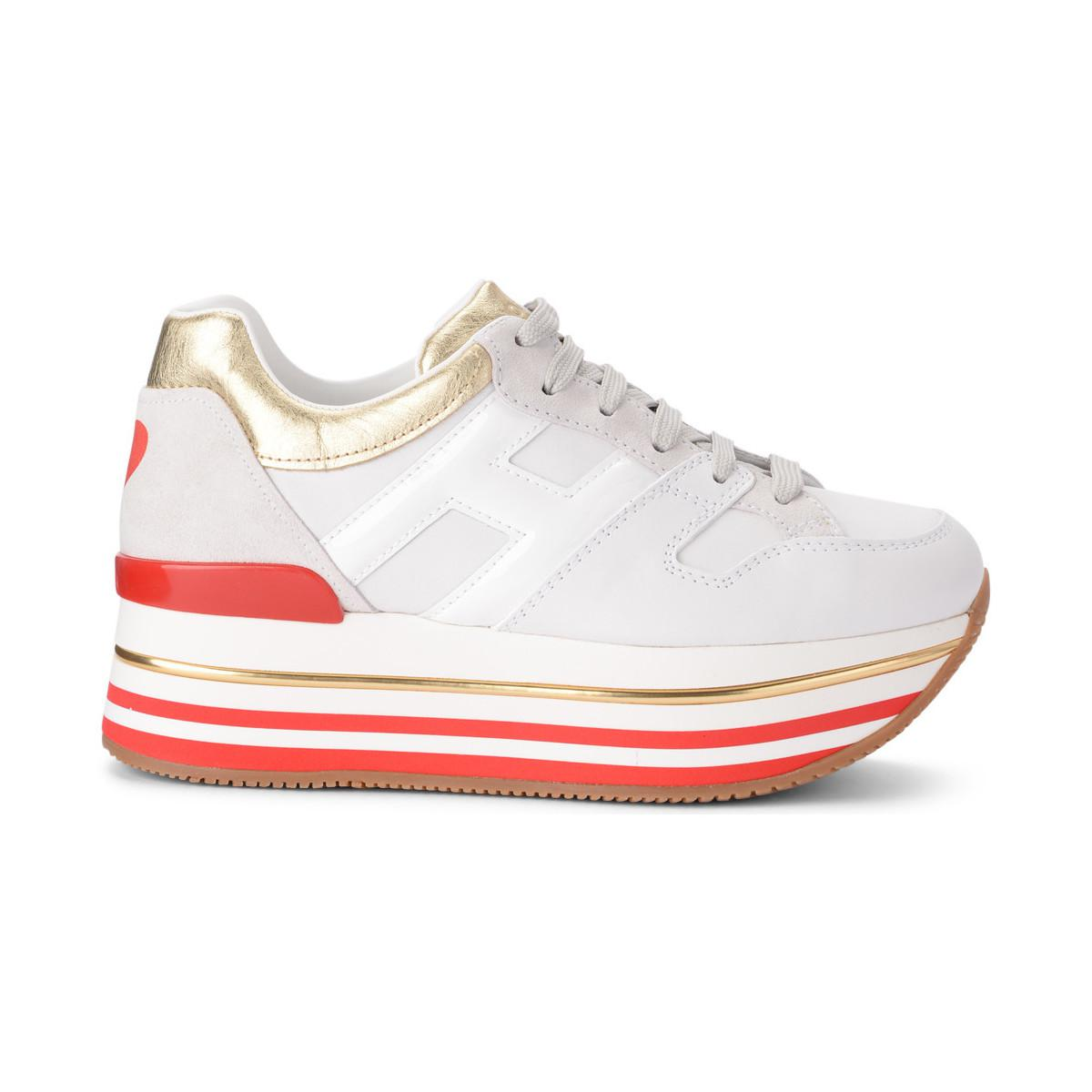 ebe628c7c Hogan. H222 Maxi White And Gold Leather Trainer Women's Shoes ...