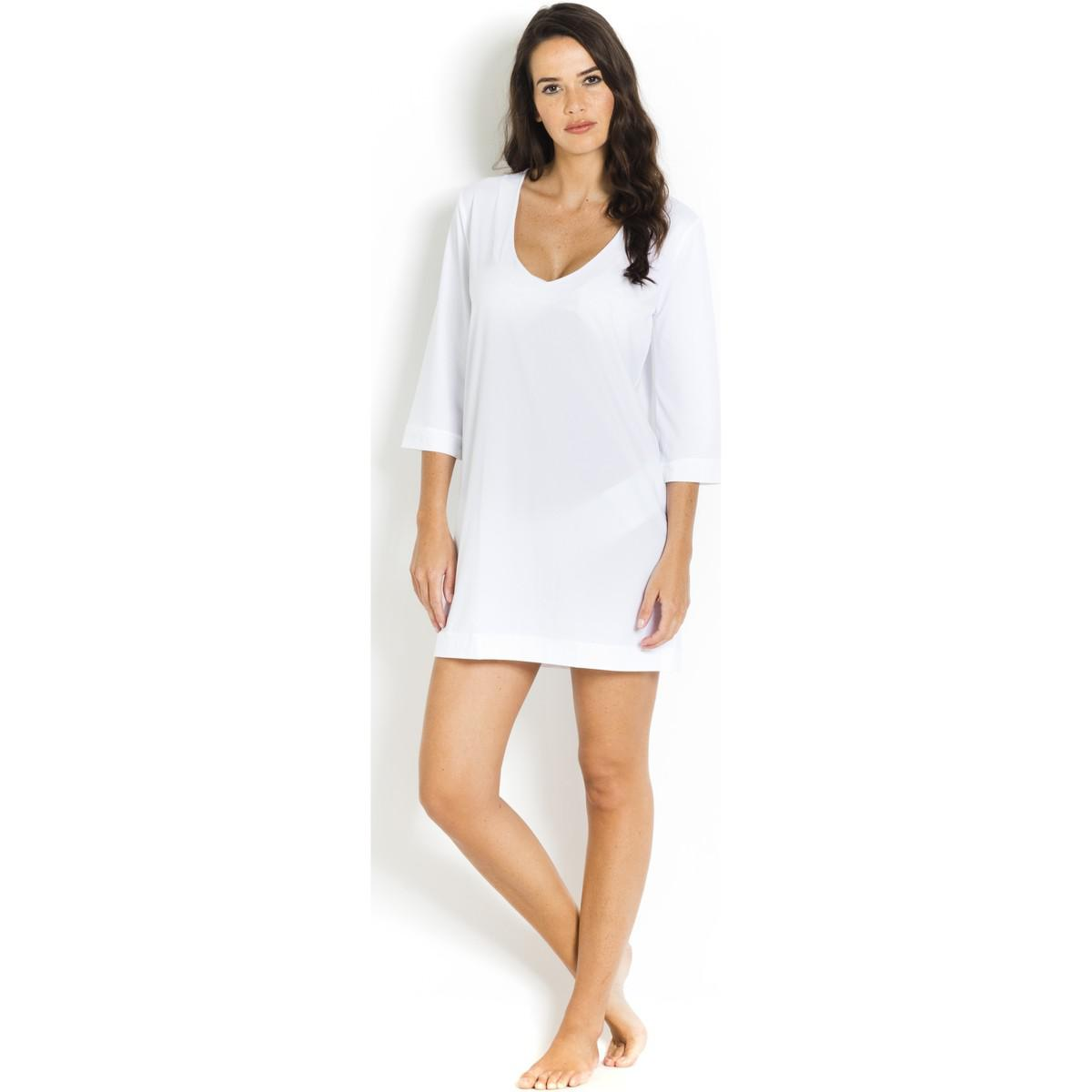 Short Beach Dress V-neckline Nessa PAIN DE SUCRE White - Voile Uni Pain De Sucre fM6jXh