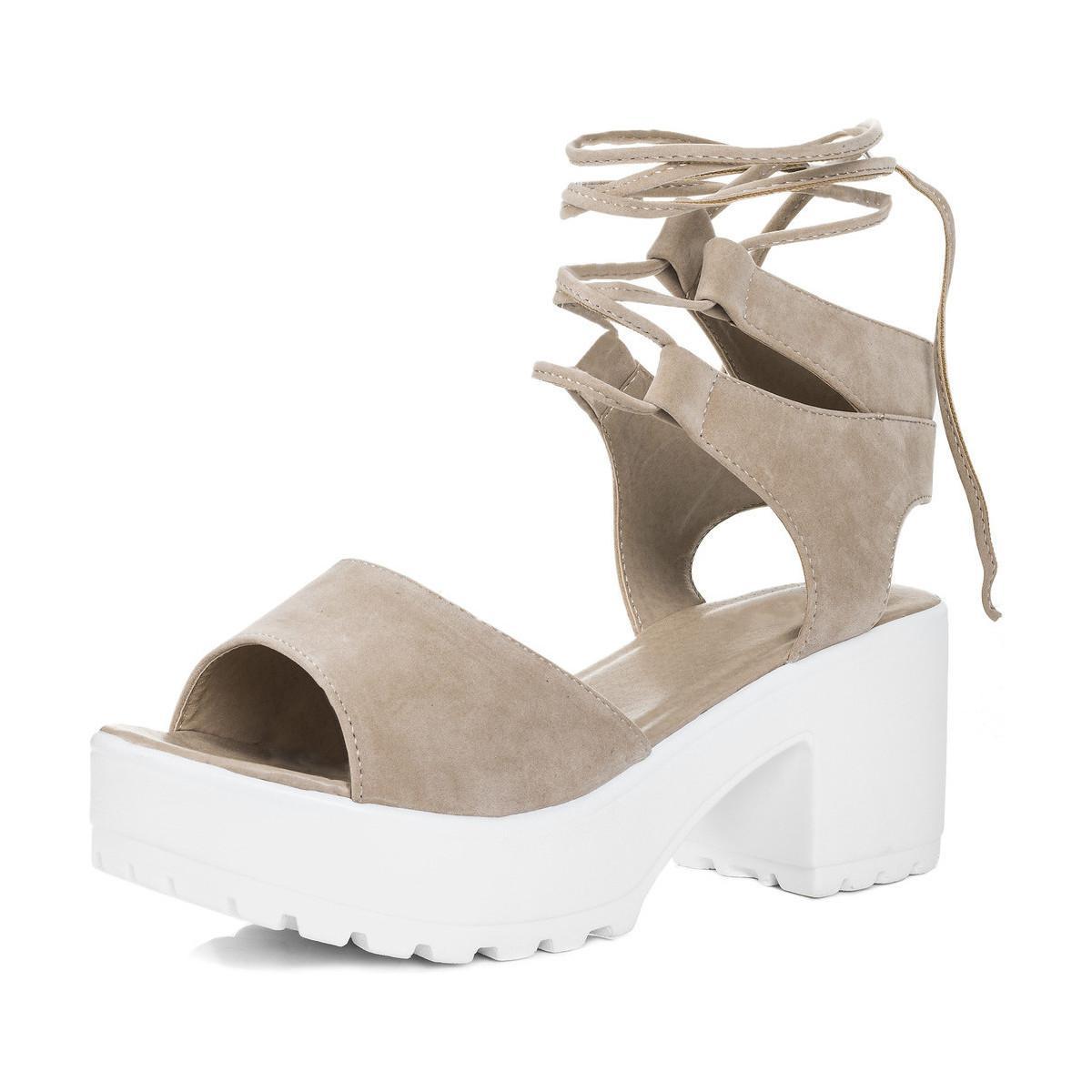 16781d8200f Spylovebuy Molly Open Peep Toe Mid Heel Sandals Shoes - Nude Suede ...