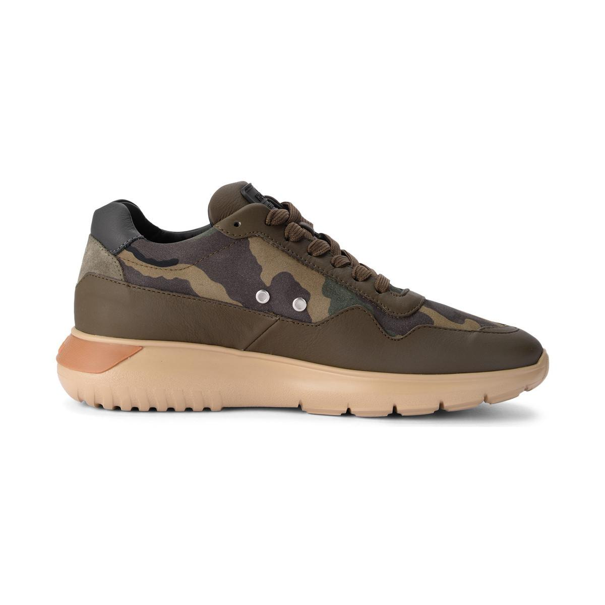 15e39f435b28a Hogan Interactive3 Green Leather And Camouflage Fabric Sneaker Men's ...