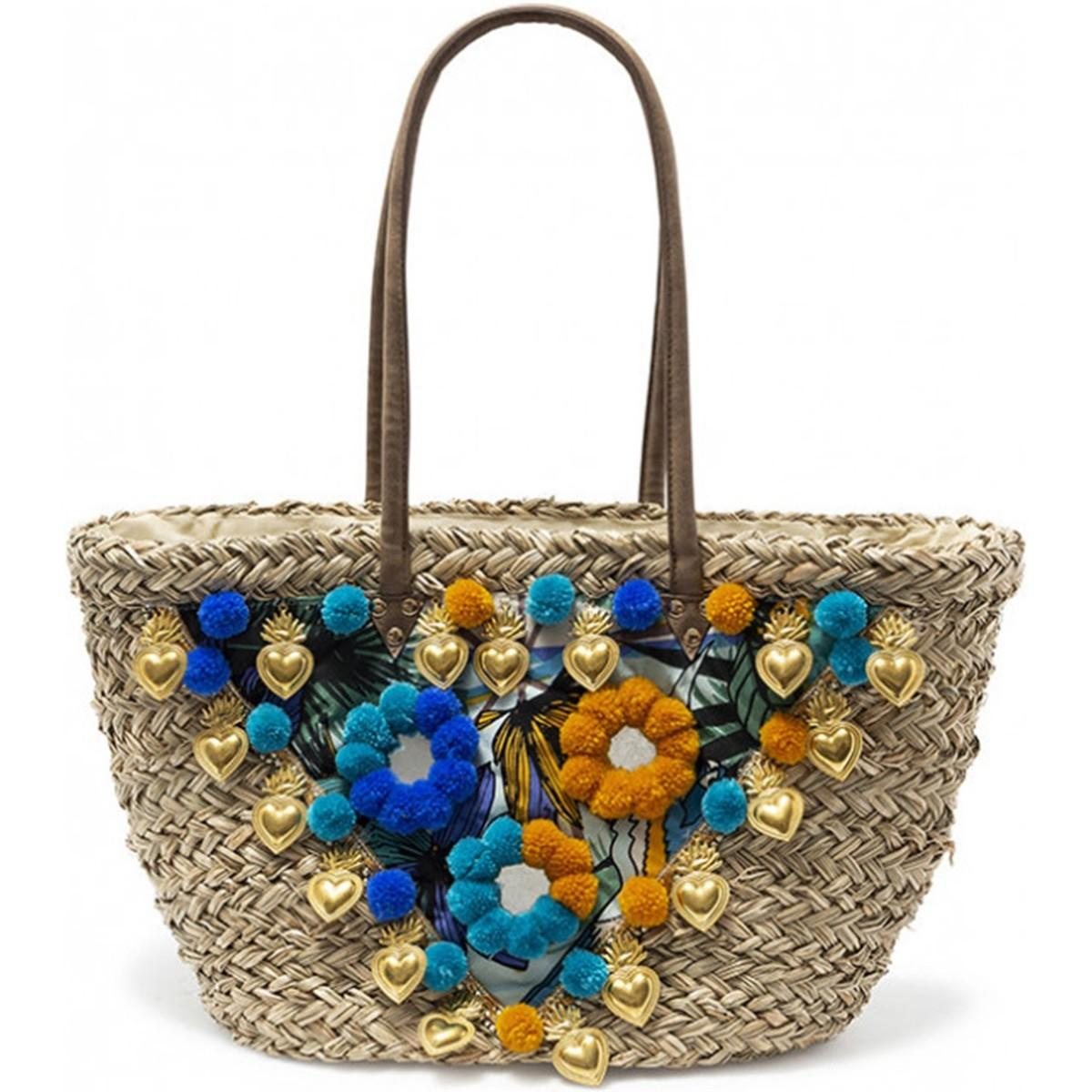 7aadf3b6ae Amenapih Straw Bag Embroidered , Blue - Lavezzi Women's Shopper Bag ...