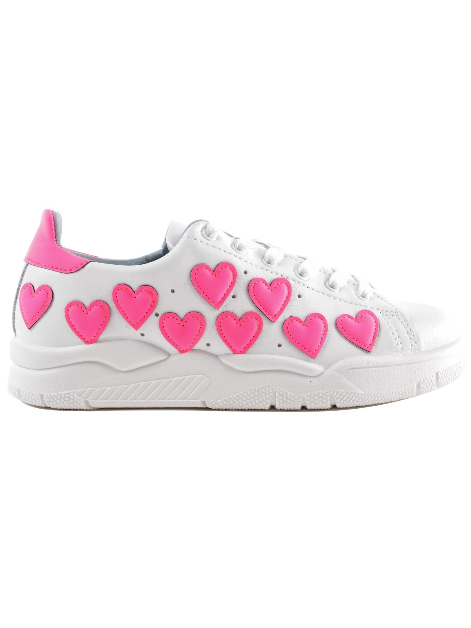 Chiara Ferragni Fluo Hearts Leather Sneakers vkrigNWw