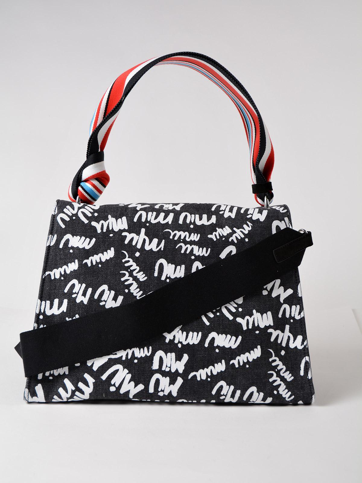 Lyst - Miu Miu Denim Logo Handbag in Black 23013f718447a