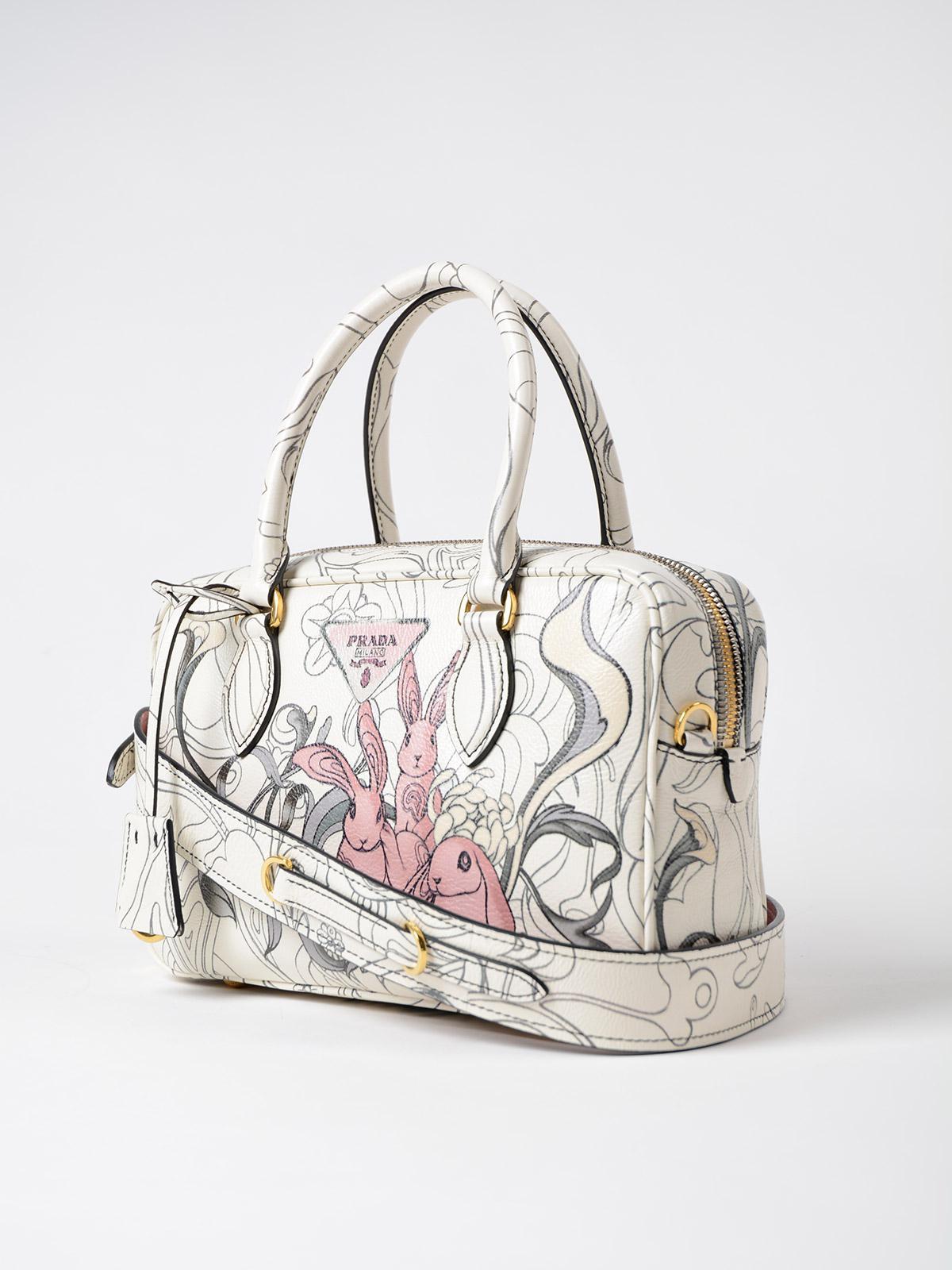 cfcdfcf5a16 italy prada white rabbit print leather tote bag 2aad4 d2444  denmark lyst  prada glace calf rabbit handbag b8d6d 8556d