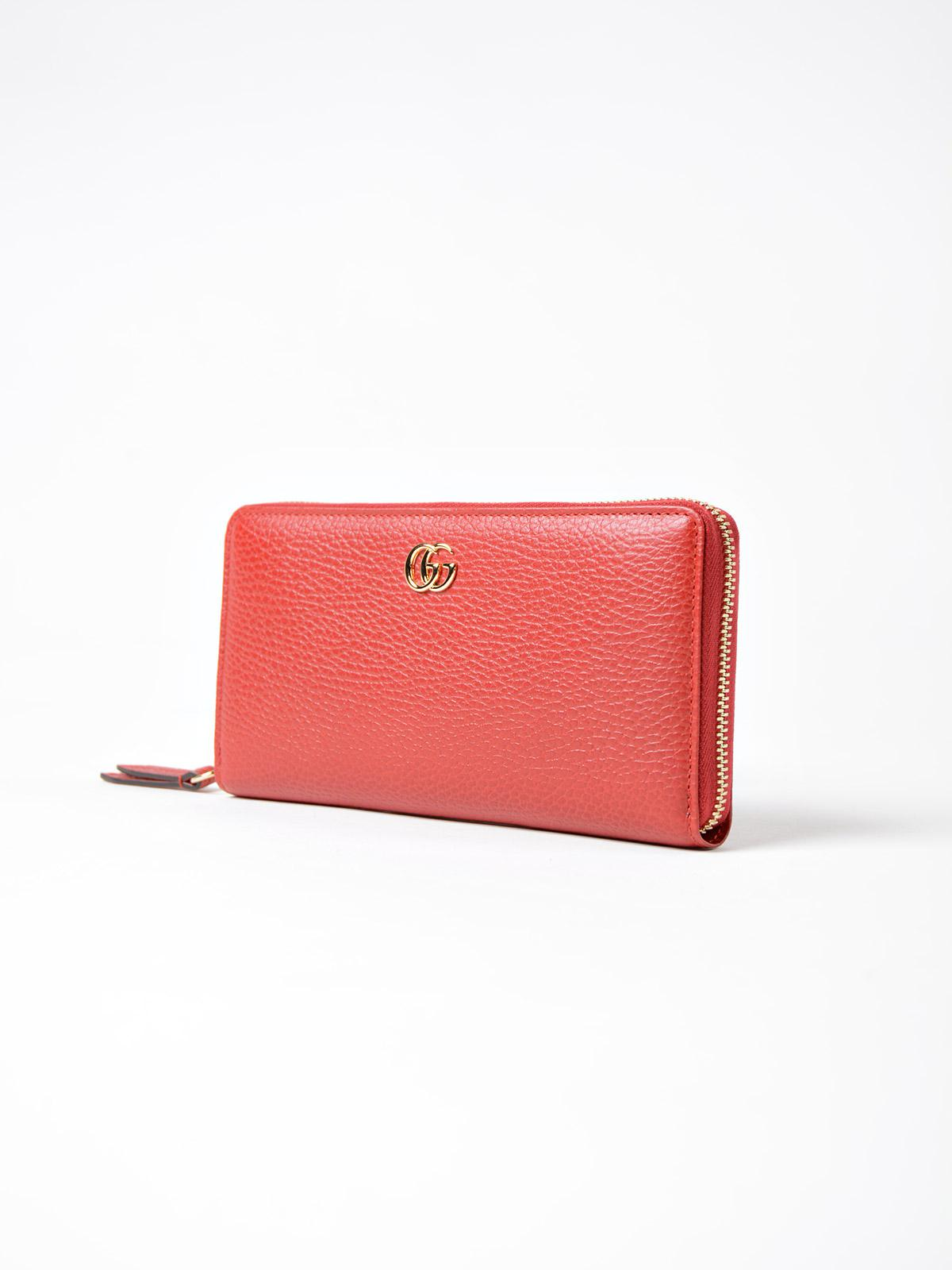 553c824e053 Lyst - Gucci Gg Marmont Zip Around Wallet in Red