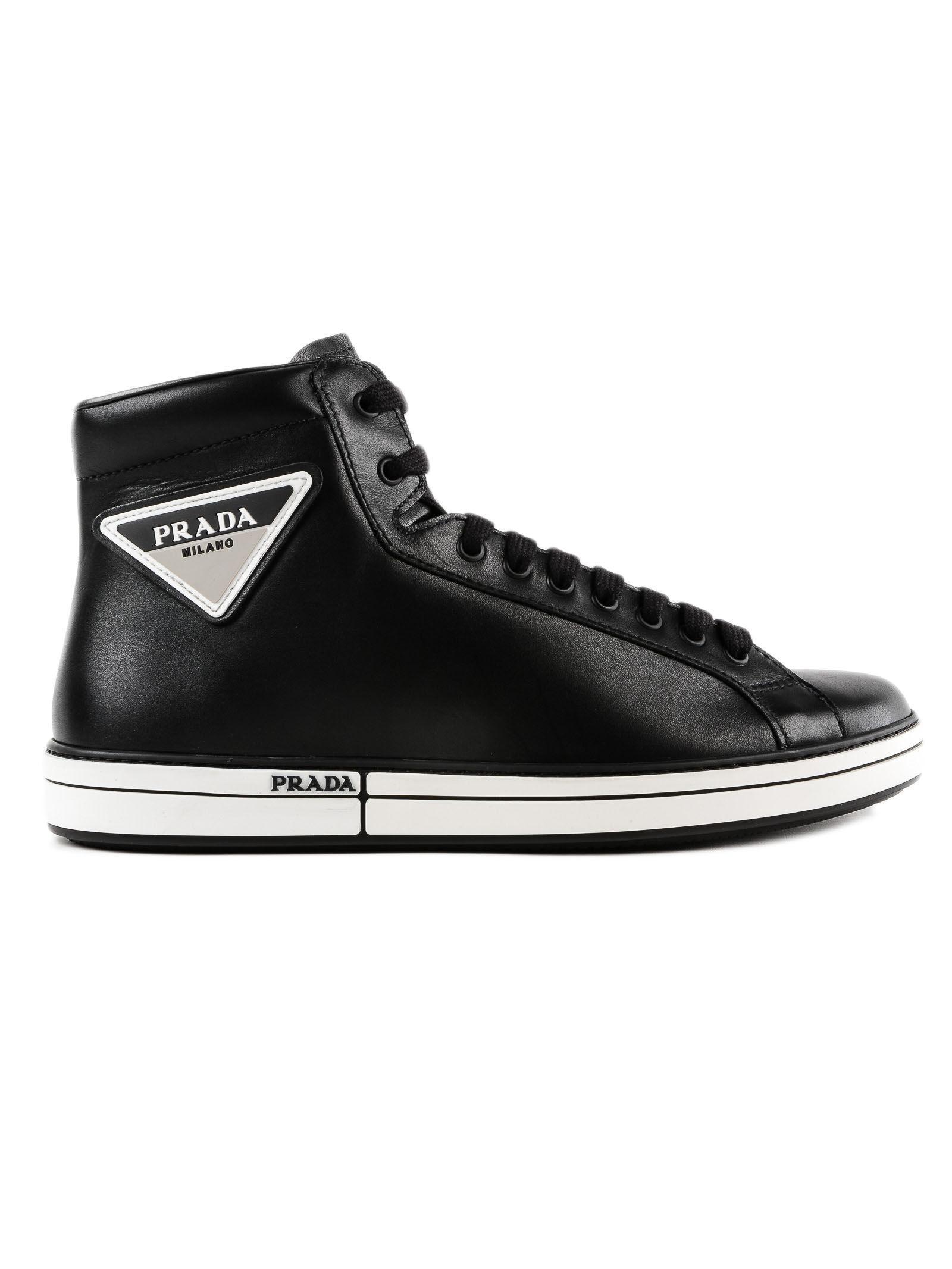 43c9efc8c3bd2 Prada - Black Badge High Top Sneaker for Men - Lyst. View fullscreen