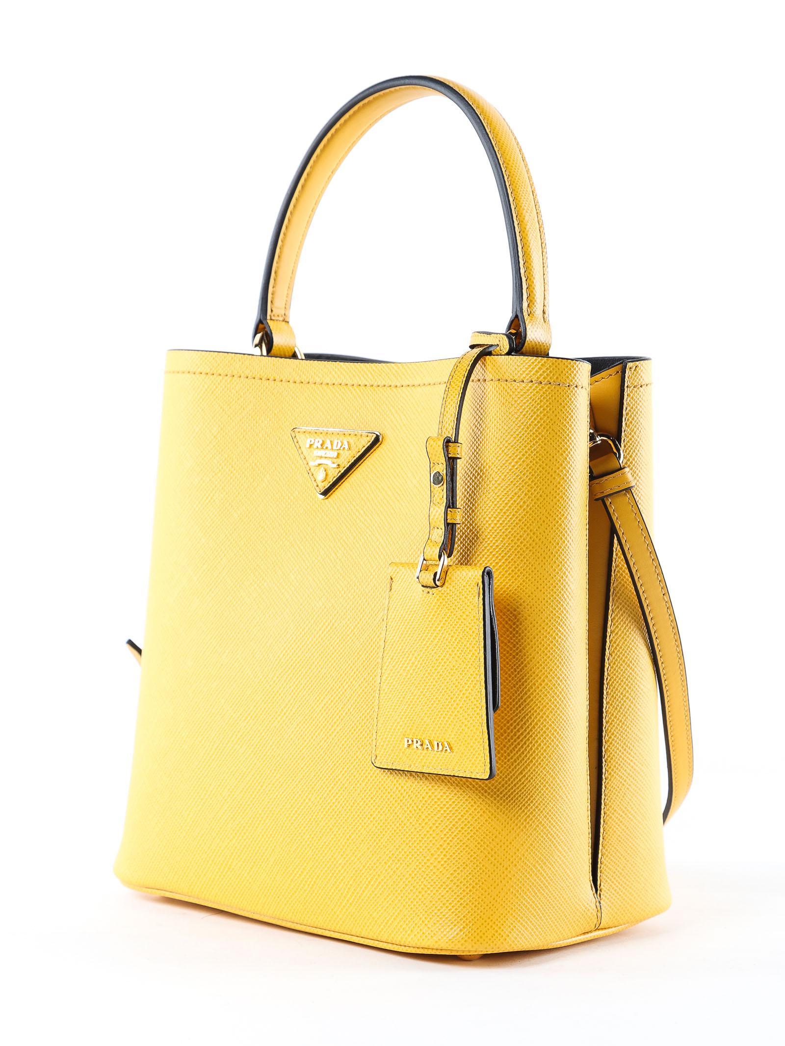 d0ba371a9e36 Prada Handbag Saffiano+city Calf in Yellow - Lyst