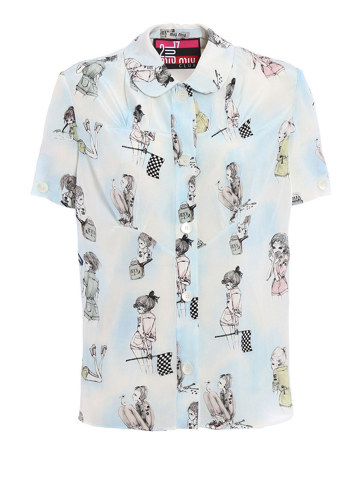 74bbd800d Miu Miu Cdc St.girls Shirt in Blue - Lyst