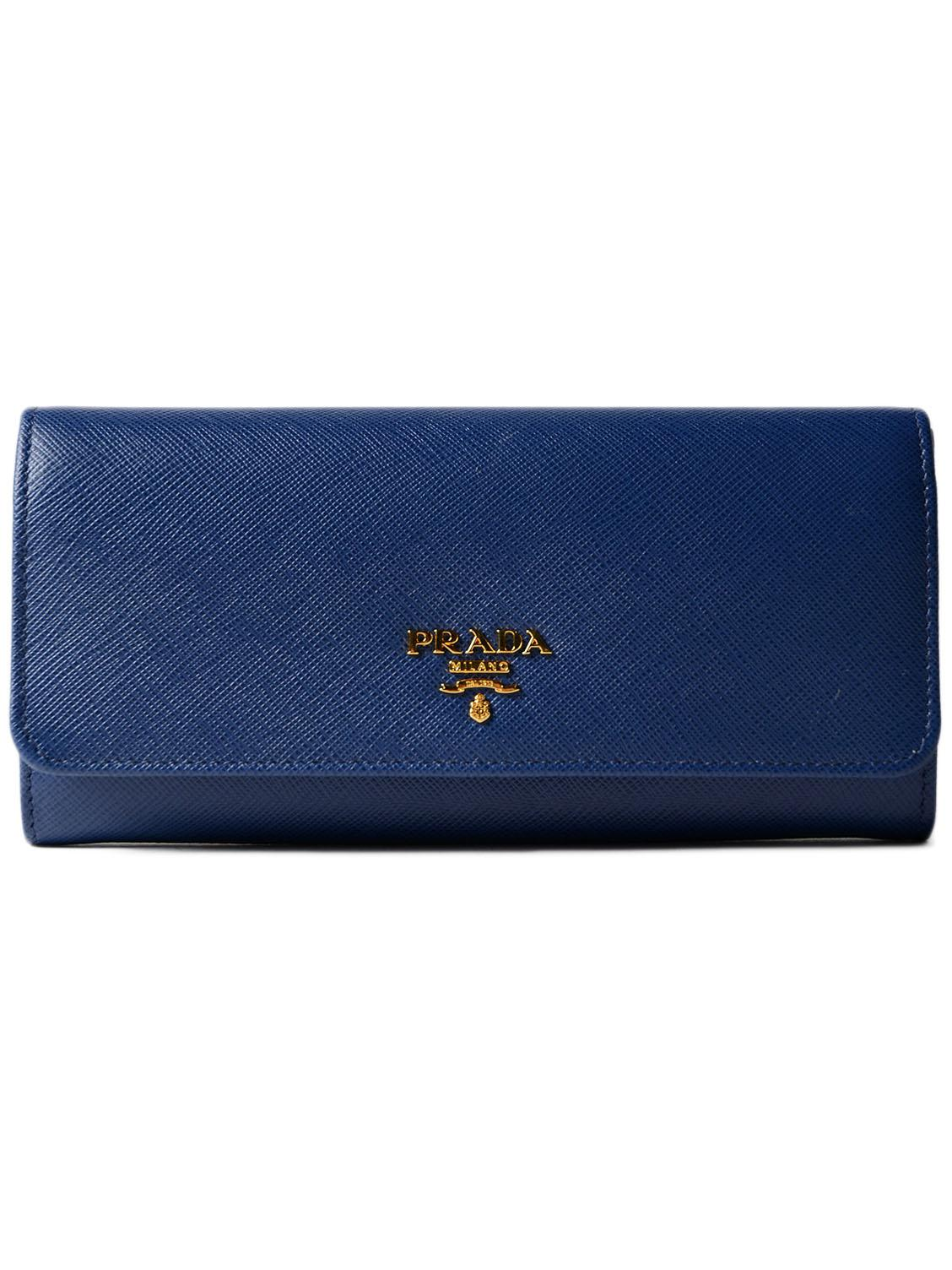 e6199b008d71e1 Prada Saff Metal Oro Continental Wallet in Blue - Lyst