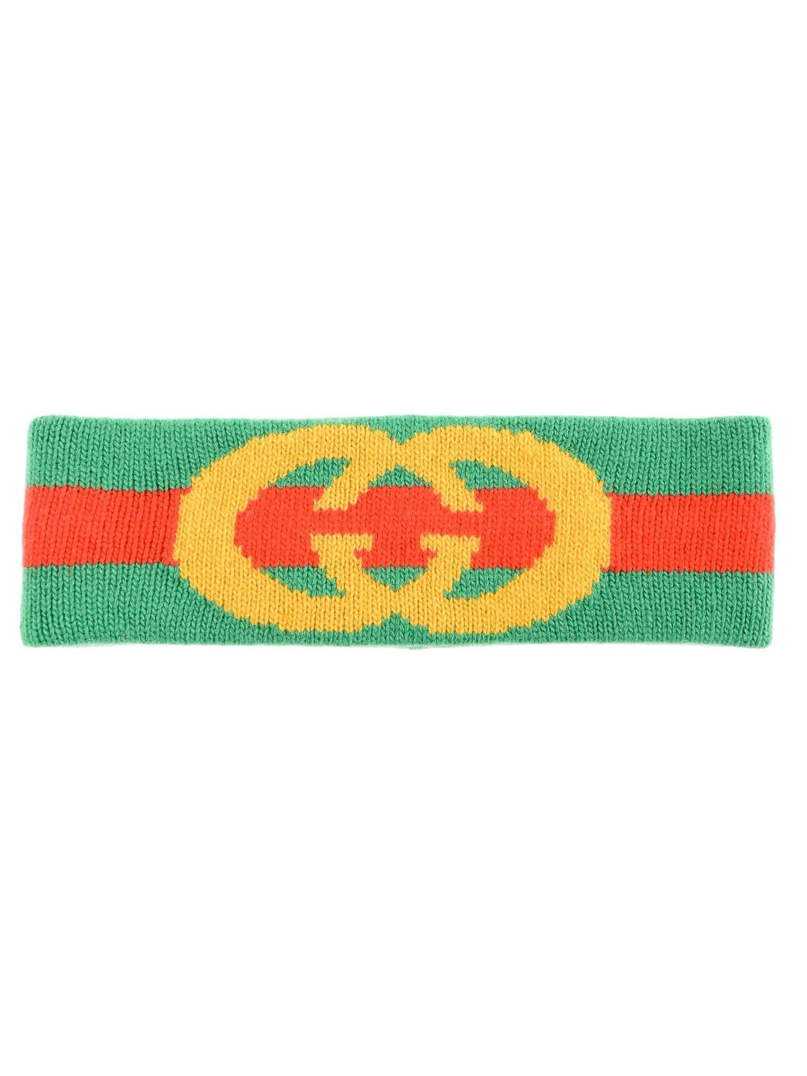 c58f9f87623 Lyst - Gucci Web Wool Headband With Interlocking G in Green - Save 19%