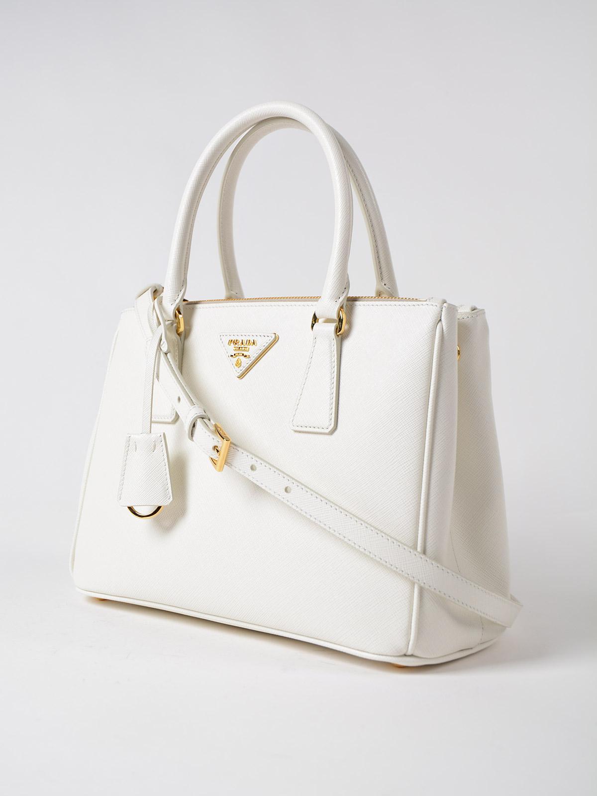 2a7deb5381 Lyst - Prada Saffiano Lux Galleria Bag in White