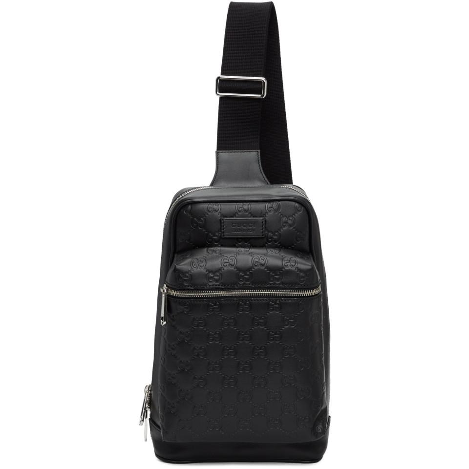 Lyst - Gucci Black GG Single Strap Backpack in Black for Men b942e886c740a