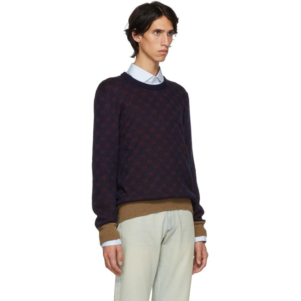 7187a6cbe60 Gucci - Blue GG Jacquard Sweater for Men - Lyst. View fullscreen