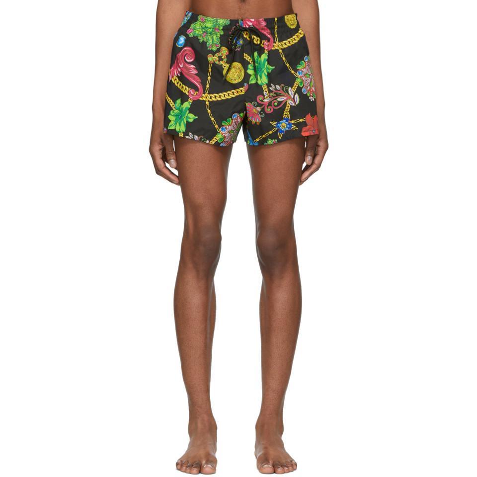 aa6e2c37cf Lyst - Versace Multicolor Floral Print Swim Shorts for Men