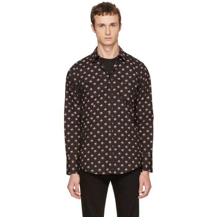 Dsquared Black Pink Floral Western Shirt In Black For