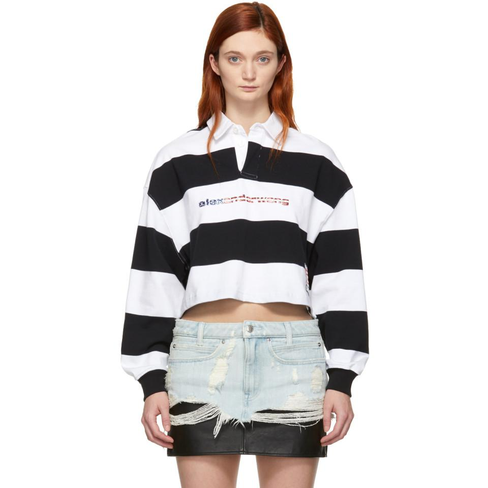 933039bb6de83 Alexander Wang Black And White Stripe Cropped Rugby Polo in Black - Lyst