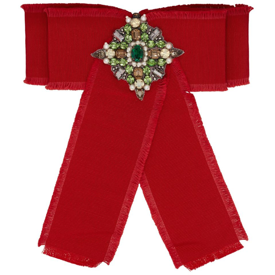 87e4eeffbe5 Lyst - Gucci Grosgrain Bow Brooch in Red - Save 13%