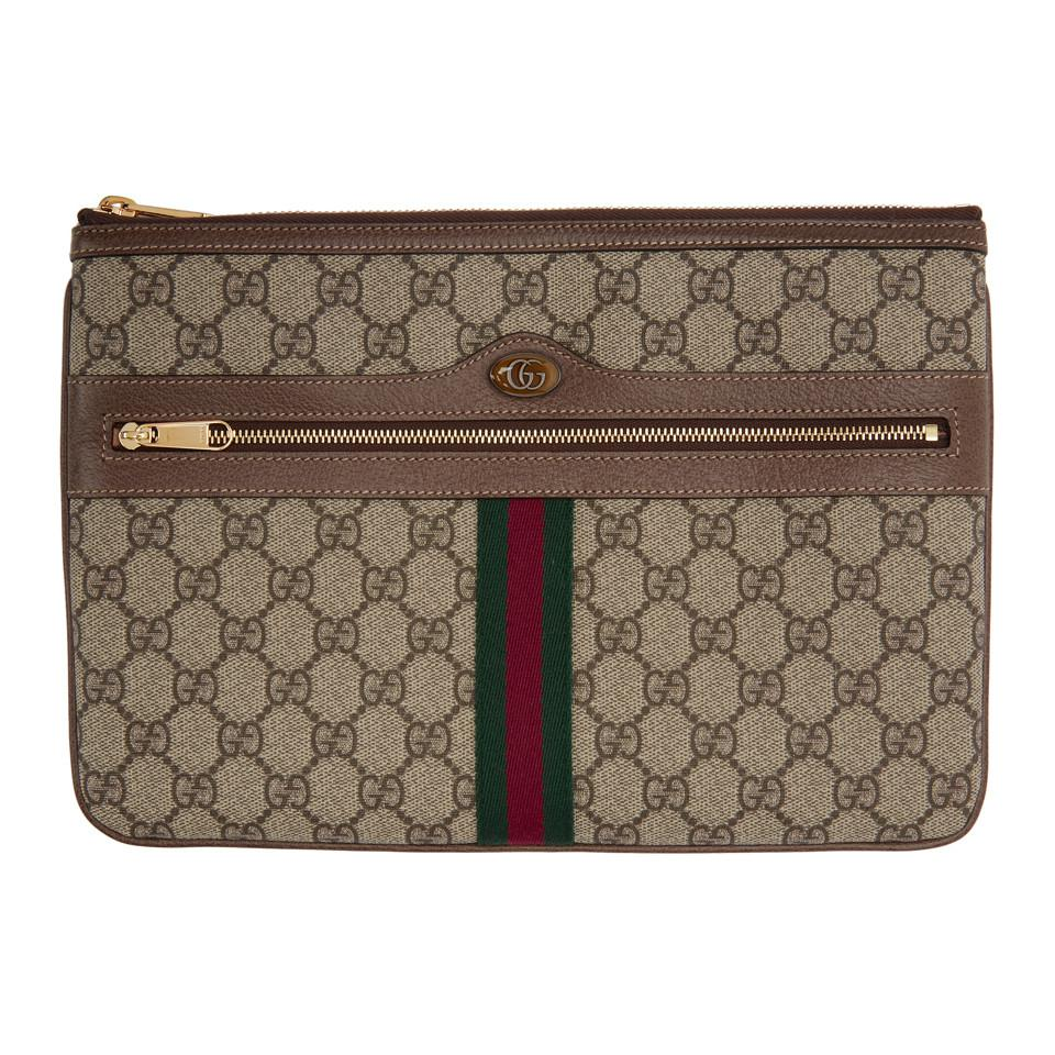 f7dfa933d0b Gucci Brown GG Supreme Ophidia Pouch in Brown - Lyst