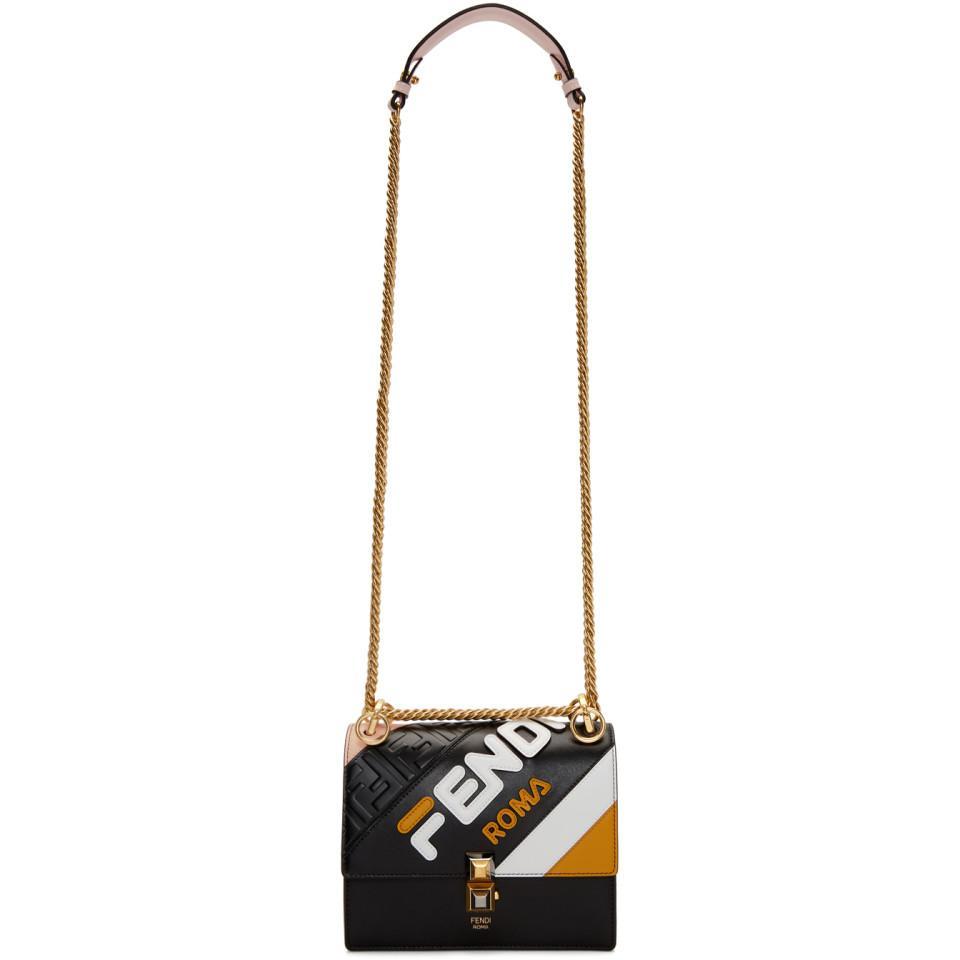 494ed7eb8249 Lyst - Fendi Black Small Mania Kan I Bag in Black