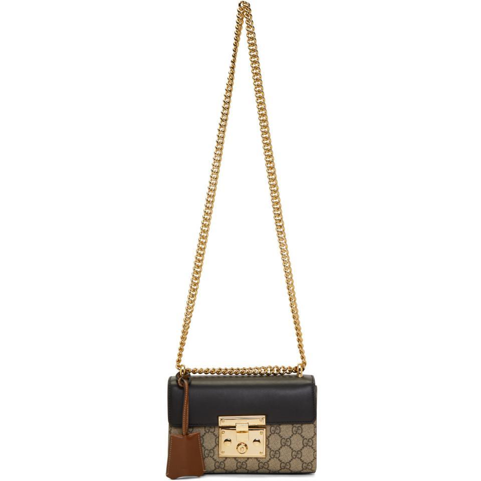 7c1e8257bdc9 Lyst - Gucci Beige Small GG Supreme Padlock Bag in Natural