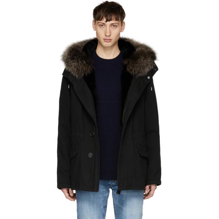 Yves salomon Black Fur-lined Parka in Black for Men | Lyst