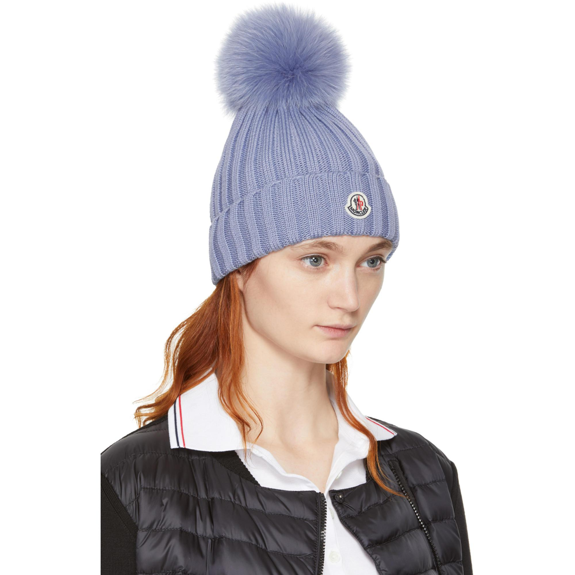 2d83e91c954127 Moncler Blue Ribbed Logo Pom Pom Beanie in Blue - Lyst