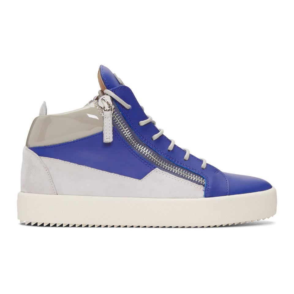 Giuseppe Zanotti Indigo & Grey May London High-Top Sneakers qtlpuI