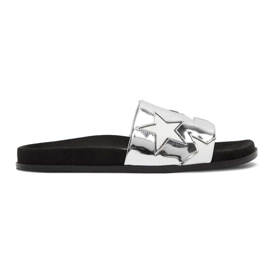Stella McCartney Silver Metallic Stars Slides free shipping outlet locations wide range of tumblr online cheapest price sale online order for sale rYZkYtSTbS