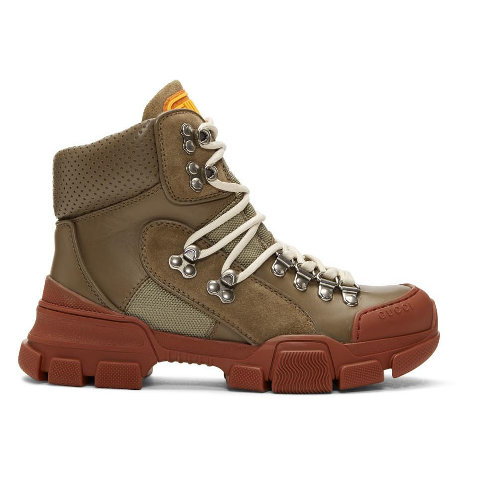 8d6db3c2200 Lyst - Gucci Khaki And Red Flashtrek Boots - Save 53%