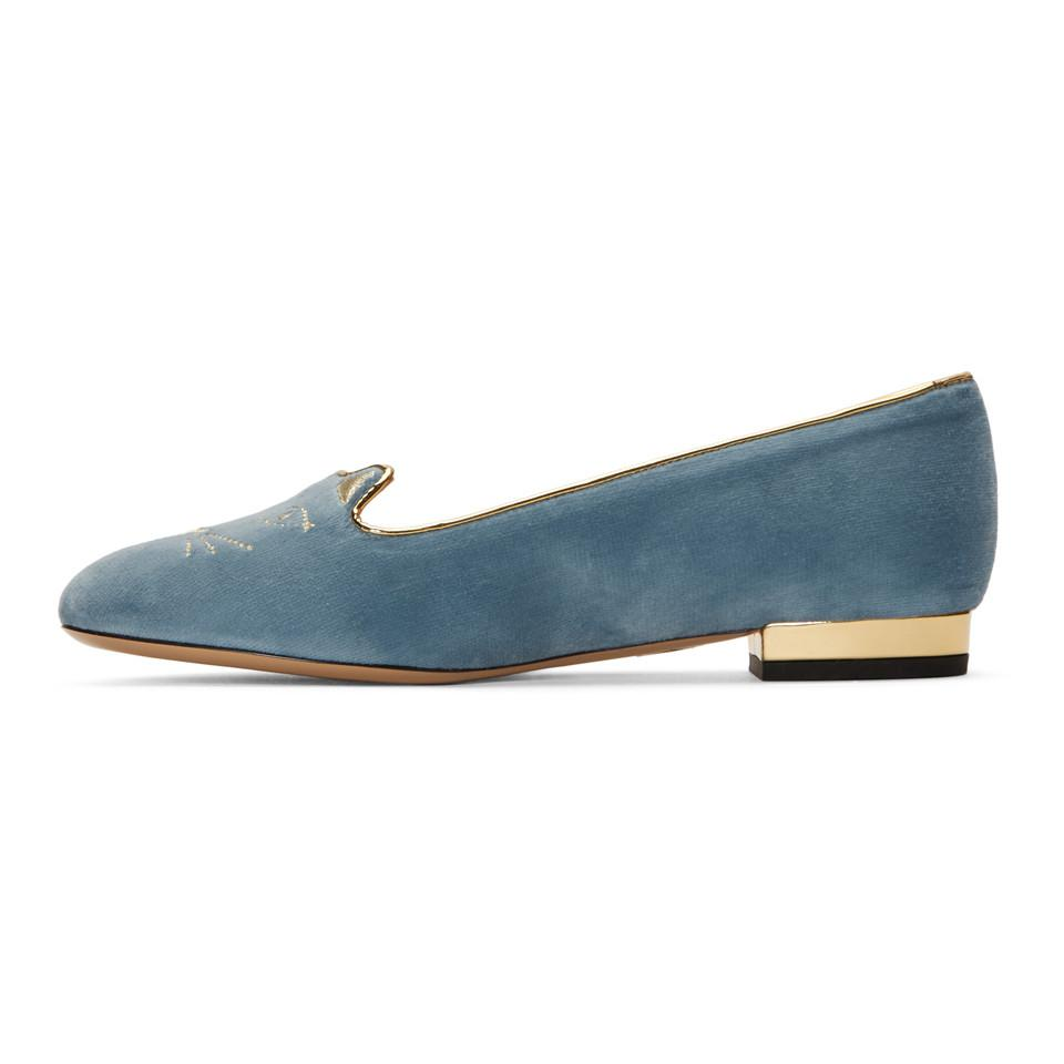 Charlotte Olympia SSENSE Exclusive Velvet Kitty Loafers 8oOFJq3k
