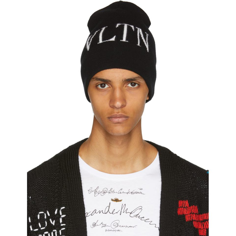 272ee645bbf Valentino Black Garavani Vltn Beanie in Black for Men - Lyst
