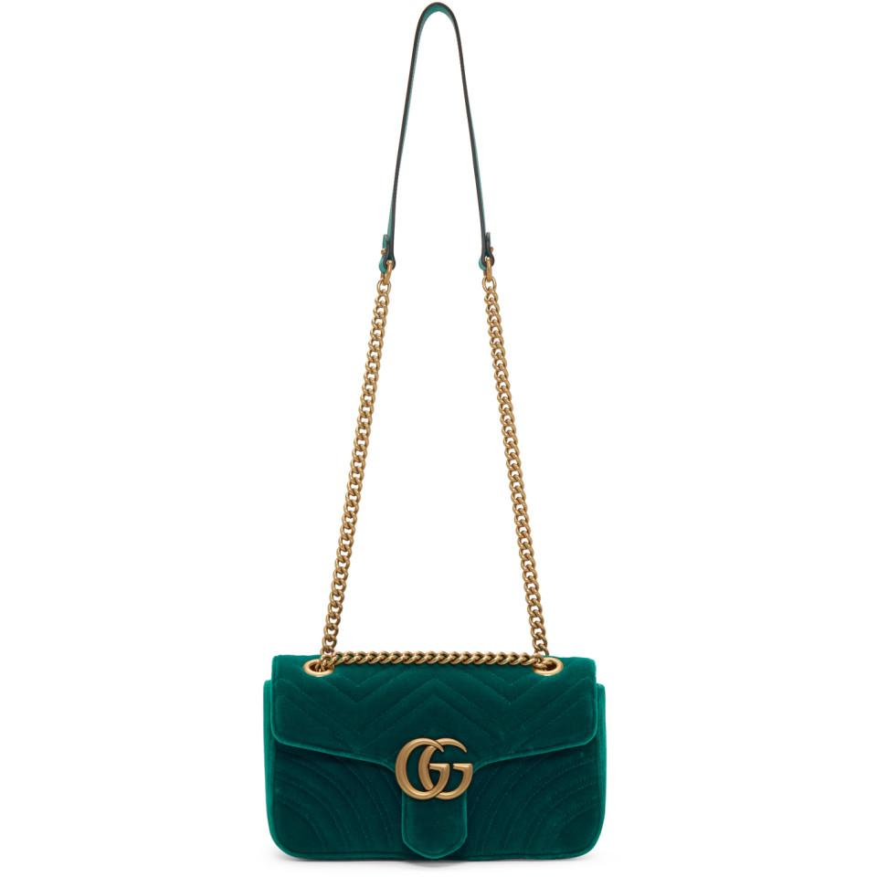 fbf4bd5aebf Lyst - Gucci Green Velvet Small GG Marmont 2.0 Bag in Green