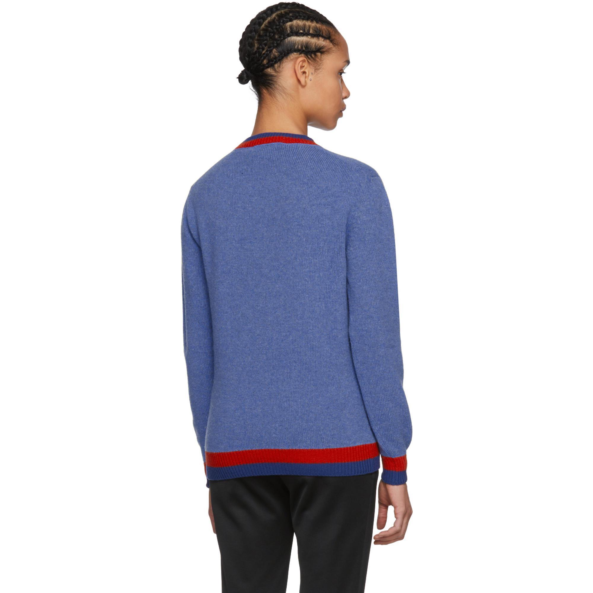 46e79e84c Gucci Blue Rabbit Knit Sweater in Blue - Lyst