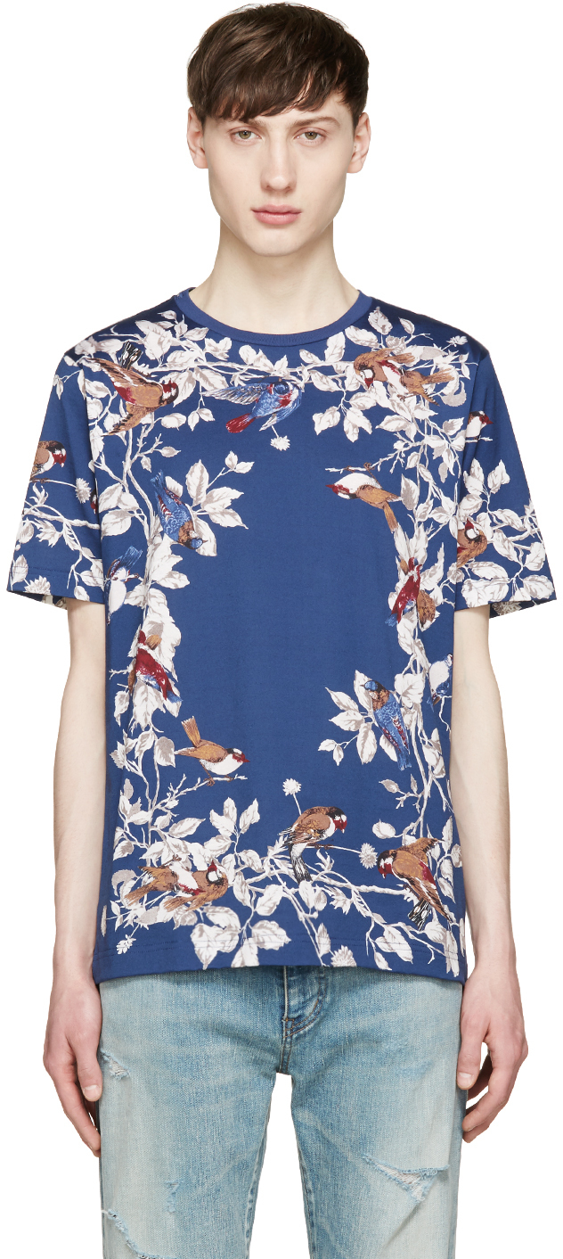 Dolce gabbana blue birds and floral t shirt in floral for Blue floral shirt mens