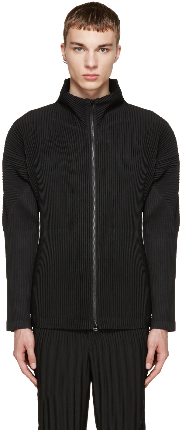 Issey miyake homme plisse black pleated zip up sweater in for Issey miyake plisse